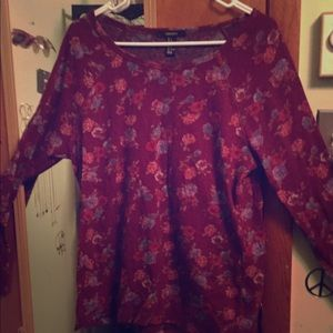 Forever 21 Maroon floral long sleeve top size m